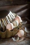 Completamente das vitaminas e de ovos ecológicos na cozinha Imagens de Stock