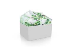 Completamente do dinheiro do Euro na caixa branca Foto de Stock