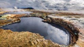 Completamente do terreno de Namafjall do enxofre e do vapor, Islândia Imagem de Stock Royalty Free