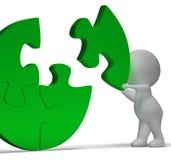 Completamento del puzzle che mostra completamento o risultato della soluzione illustrazione di stock