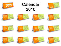Complete 2010 table Calendar set. Complete 2010 calendar. Desktop Calendar set Vector Illustration