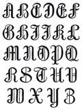 Complete alphabet in round serif characters. Complete uppercase set of alphabet letters in round vintage serif characters, vector illustration isolated on white Royalty Free Stock Photo