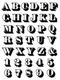 Complete alphabet set uppercase serif. Complete alphabet and numerals set in uppercase 3d font for use as typographic design elements in teaching, reading Royalty Free Stock Images