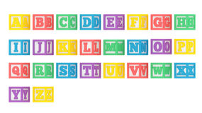 Complete angled ABC letter block alphabet isolated on a white ba Royalty Free Stock Photos