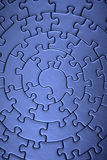 Complete blue jigsaw wide angle Stock Photography