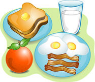 Complete Breakfast. Illustration of a complete breakfast with toast,milk,eggs,bacon and fruit Stock Photos