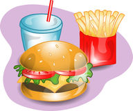 Complete cheeseburger lunch. Illustration of a complete lunch with a cheeseburger, fries and a drink. Part of the complete meal series Royalty Free Stock Image