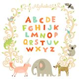 Complete Children Alphabet. Preschool abc book page with attractive colorful font and funny animals frame vector illustration Stock Photo