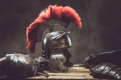 Free Complete Combat Equipment Of The Ancient Greek Warrior Lie On A Box Of Wooden Boards. Stock Images - 118429804