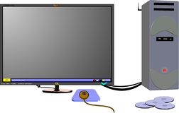 Complete computer in 3d. Complete computer with accessories in 3d on white vector Stock Images