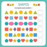 Complete each pattern. Learn shapes and geometric figures. Preschool or kindergarten worksheet. Vector illustration Royalty Free Stock Image
