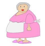 Complete elderly woman in an apron Stock Photos