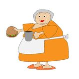 Complete elderly woman with open sandwich and mug in hands Stock Images