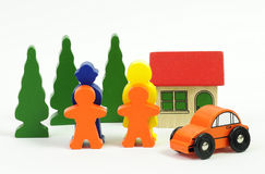 Complete family. Wooden blocks made happy family Royalty Free Stock Photography