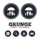 Complete family insurance icon. Umbrella symbol. Stock Images