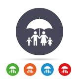 Complete family insurance icon. Umbrella symbol. Stock Photography