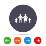 Complete family with two children sign icon. Stock Image