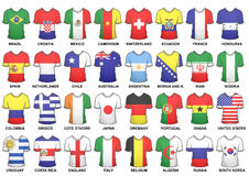 Complete 2014 Fifa World Cup Shirts. Complete set of shirts featuring participants in the 2014 Fifa World Cup Brazil groups. Vector/Eps file is available Royalty Free Stock Images
