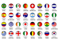 Complete Flags Fifa World Cup 2014. World Cup Brazil 2014 flags in circle frame. EPS/vector available Stock Image