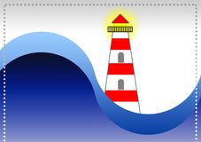 The lighthouse on the book cover. Marine theme. Complete front and IV book cover, by format 17,4x26,6 cm with abundance margins included. Blue tones and red Royalty Free Stock Images