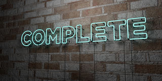 COMPLETE - Glowing Neon Sign on stonework wall - 3D rendered royalty free stock illustration Royalty Free Stock Photos