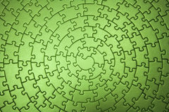 Complete green jigsaw wide angle Royalty Free Stock Images
