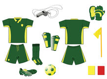 Complete green and yellow soccer set Royalty Free Stock Photography