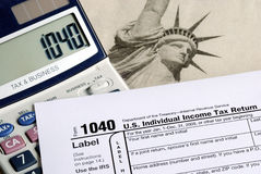 Complete the income tax return Stock Photos