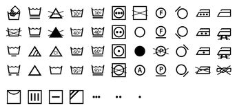 Complete International Laundry Symbols Collection. The complete set of international laundry symbols isolated on white background in  format Royalty Free Stock Images