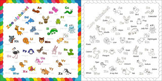 The complete kids english animal zoo alphabet with. Fun cartoon animals. ABC. Zoo alphabet design in outline style. Outline zoo alphabet to be colored. Letters Stock Photos
