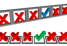 Complete los conjuntos bien escogidos del voto de las marcas de verificación de los rectángulos de la forma Foto de archivo libre de regalías