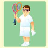 Complete man is exercising plays badminton. Full man in summer clothes deals with sports playing badminton royalty free illustration