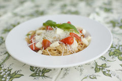 Complete meal  - spaghetti with tomato and cheese. Complete meal - spaghetti with tomato and cheese Stock Photo