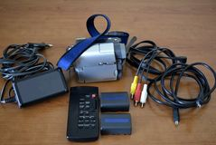 Complete mini DV Video Camera Set royalty free stock images