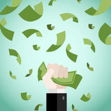 Complete Money Making. Money is awarded to the diligence and patience Royalty Free Stock Photo