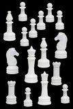 Complete Of The White Chessmen Royalty Free Stock Images