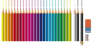 A complete palette of colored pencils with an eraser and a pencil sharpener. royalty free illustration