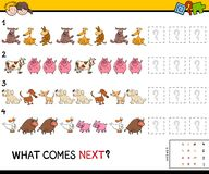 Complete the pattern educational game for children. Cartoon Illustration of Completing the Pattern Educational Game for Preschool Children with Animals and Pets vector illustration