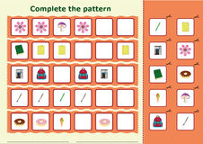 Complete the pattern, Worksheet for kids Stock Photography