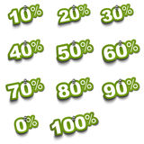 Complete percent sticker set. Complete set of percent green stickers over a white background fixed with push pin Stock Image