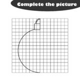 Complete the picture, black white cartoon christmas ball, drawing skills training, educational game for the development vector illustration