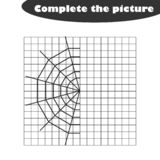 Complete the picture, cobweb in cartoon style, drawing skills training, educational paper game for the development of children, k stock illustration