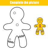 Complete the picture educational children game. Printable toddlers Kids activity sheet with gingerbread man Royalty Free Stock Photos