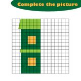 Complete the picture, house in cartoon style, drawing skills training, educational paper game for the development of stock illustration