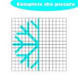 Complete the picture, snowflake in cartoon style, drawing skills training, educational paper game for the development of. Children, kids preschool activity stock illustration