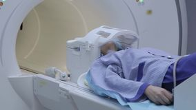 The complete process of examining a patient with magnetic resonance imaging. X-ray study. Innovative technologies. In medicine stock video footage