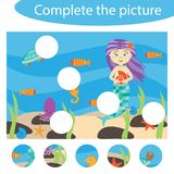 Complete the puzzle and find the missing parts of the picture, ocean, fun education game for children, preschool worksheet stock illustration
