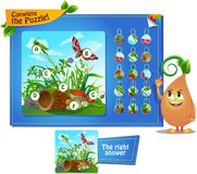 Complete the puzzle insects 2. Visual game for children and adults. Task complete the puzzle Royalty Free Stock Photo