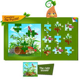 Complete the puzzle insects 2. Visual game for children and adults. Task complete the puzzle Royalty Free Stock Images