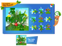 Complete the puzzle insects 2. Visual game for children and adults. Task complete the puzzle Royalty Free Stock Photos